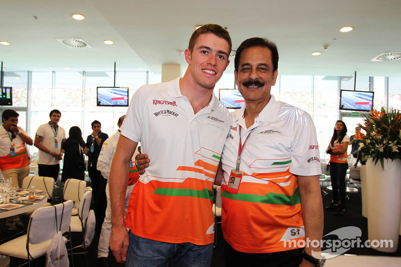 Paul di Resta, Sahara Force India F1 with Subrata Roy Sahara, Sahara Chairman, at the Sahara Force India F1 Team Paddock Club