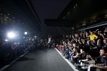 Sebastian Vettel, Red Bull Racing, Mark Webber, Red Bull Racing and Christian Horner, Red Bull Racing, Sporting Director