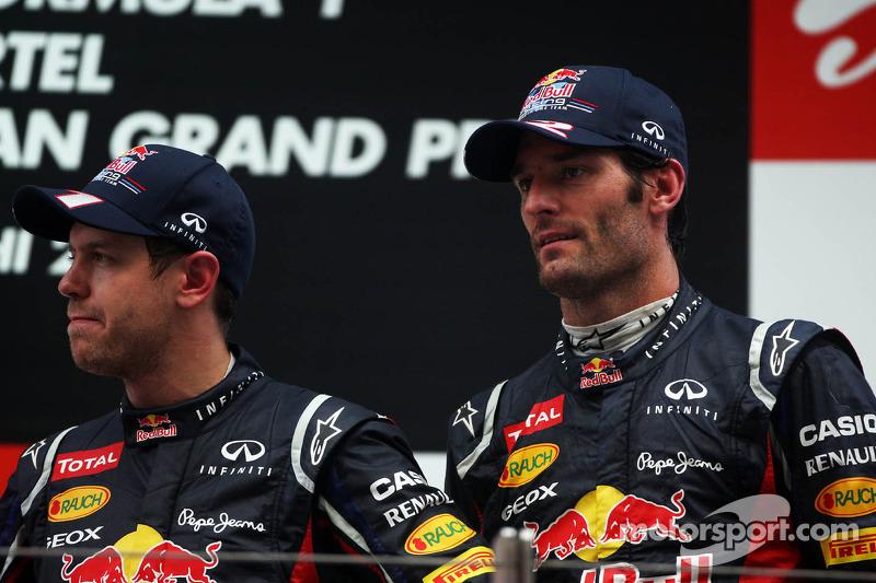 Race winner Sebastian Vettel, Red Bull Racing and Mark Webber, Red Bull Racing on the podium