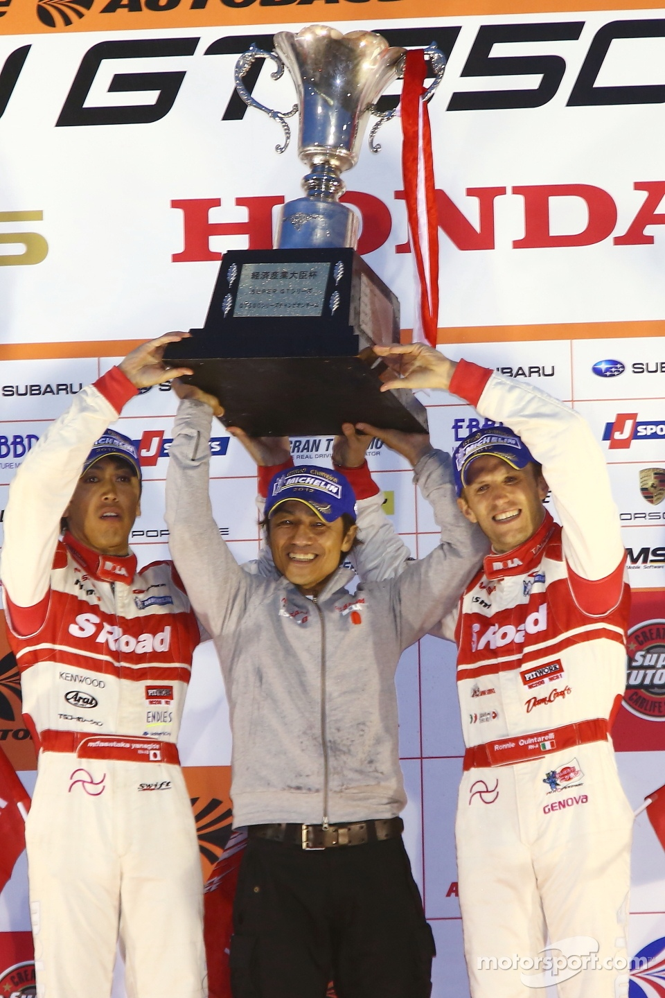 GT500 podium: second place and 2012 champions Masataka Yanagida, Ronnie Quintarelli