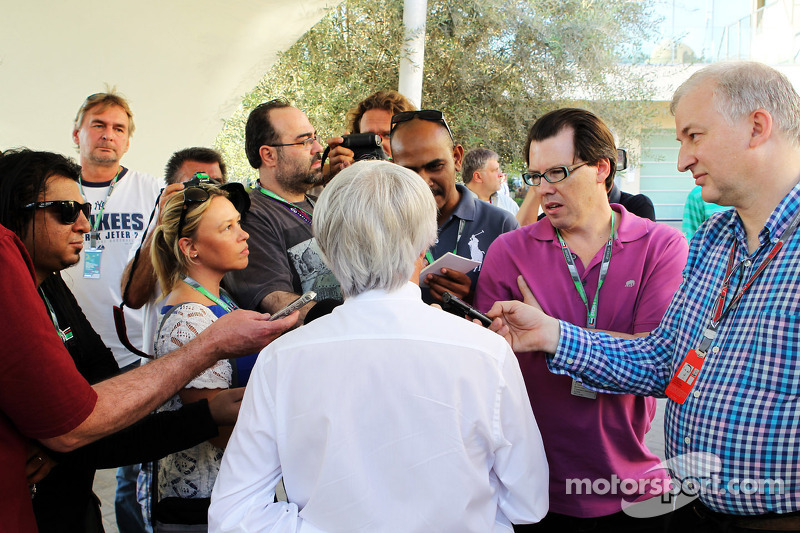 Bernie Ecclestone, CEO Formula One Group, with the media