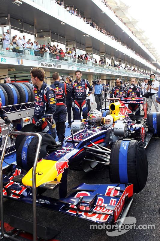 Sebastian Vettel, Red Bull Racing waits to start his race from the pit lane