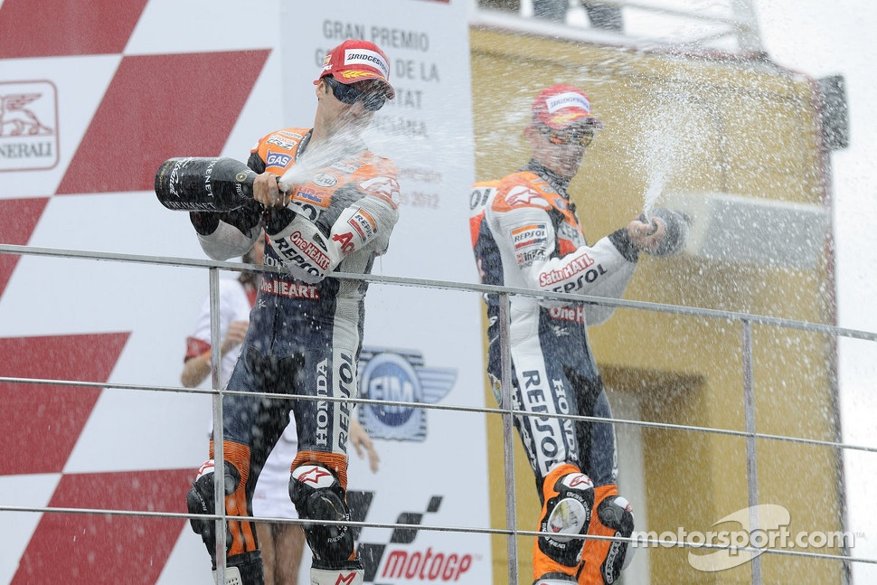 Podium: winner Dani Pedrosa, Repsol Honda Team, third place Casey Stoner, Repsol Honda Team