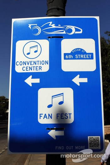F1 signs in downtown Austin