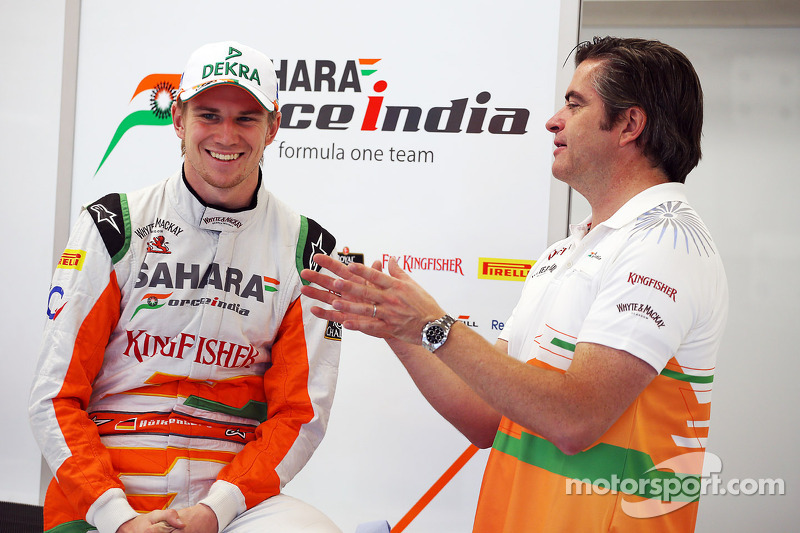Nico Hulkenberg, Sahara Force India F1 with Andy Stevenson, Sahara Force India F1 Team Manager