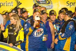 Championship victory lane: Penske Racing Dodge team members celebrate