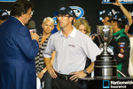 Championship victory lane: 2012 NASCAR Nationwide Series champion car owner trophy to J.D. Gibbs for Joe Gibbs Racing Toyota