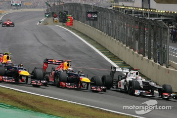 Mark Webber, Red Bull Racing, Sebastian Vettel, Red Bull Racing and Kamui Kobayashi, Sauber F1 Team