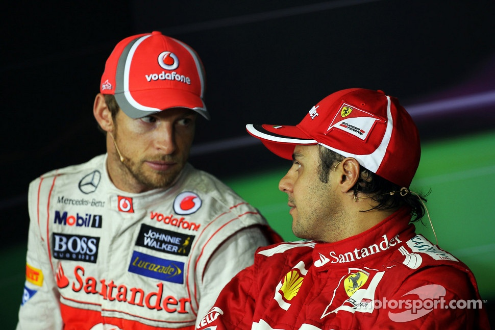Jenson Button, McLaren and Felipe Massa, Ferrari in the FIA Press Conference