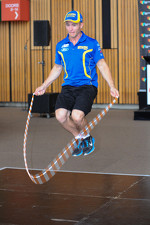 Lee Holdsworth taking part in the Ford vs Holden challenge