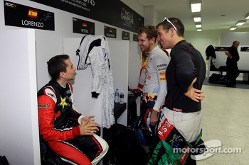 Jorge Lorenzo, Benito Guerra and Sebastian Vettel