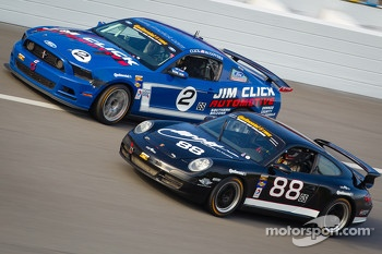 #2 Jim Click Racing Mustang Boss 302R GT: Jim Click, Mike McGovern, #88 Ranger Sports Racing Porsche 997: Barry Ellis, Frank Rossi, Fraser Wellon
