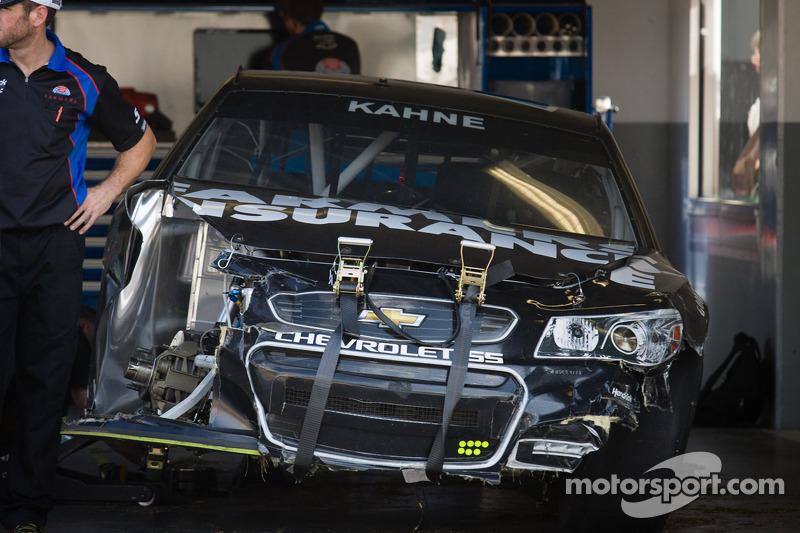 Wrecked car of Kasey Kahne, Hendrick Motorsports Chevrolet