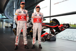 Jenson Button, McLaren and team mate Sergio Perez, McLaren with the new McLaren MP4-28