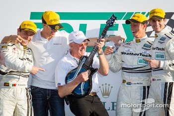 GT podium: class winners Filipe Albuquerque, Oliver Jarvis, Edoardo Mortara, Dion von Moltke with Alex Job