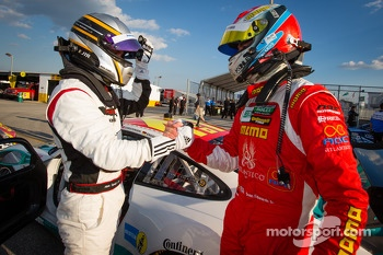 GT pole winner Nick Tandy celebrates with Sean Edwards