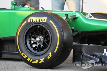 Pirelli tyre on the Caterham CT03