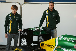 Charles Pic, Caterham and team mate Giedo van der Garde, Caterham F1 Team with the new Caterham CT03