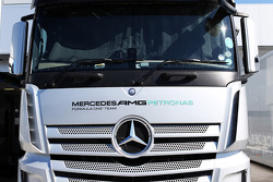 Mercedes AMG F1 truck in the paddock