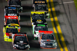 Todd Bodine and Kyle Busch lead the field