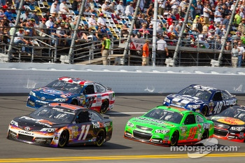 Denny Hamlin, Joe Gibbs Racing Toyota leads Danica Patrick, Stewart-Haas Racing Chevrolet