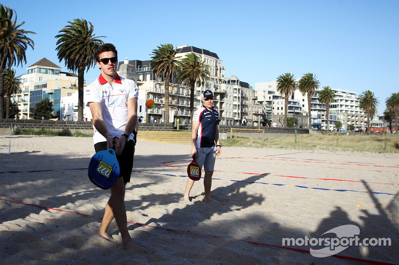 Jules Bianchi, Marussia F1 Team and Valtteri Bottas, Williams Team play beach tennis