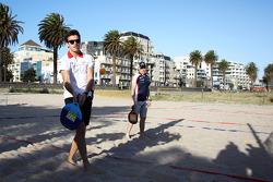 Jules Bianchi, Marussia F1 Team and Valtteri Bottas, Williams Team play beach tennis
