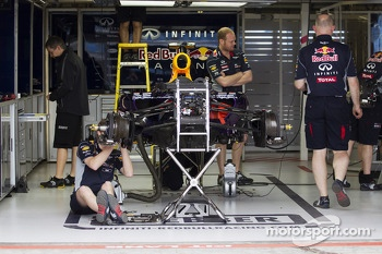 Red Bull Racing RB9 prepared in the pit garages