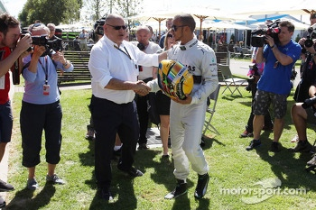 Lewis Hamilton, Mercedes AMG F1 and Pat Behar, FIA