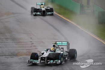 Lewis Hamilton, Mercedes AMG F1 W04 leads team mate Nico Rosberg, Mercedes AMG F1 W04