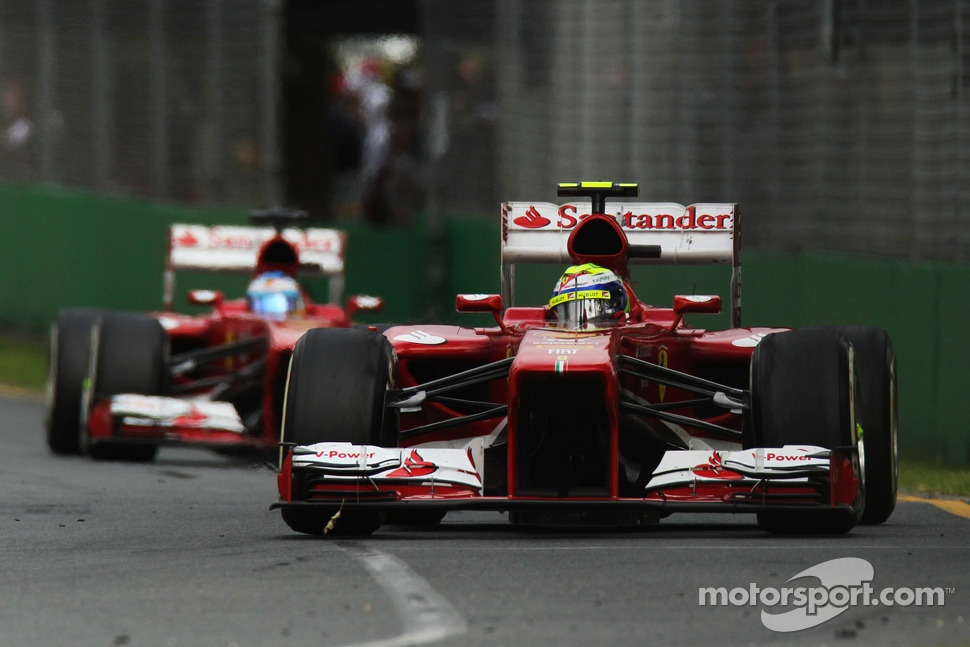 Felipe Massa, Ferrari F138 leads Fernando Alonso, Ferrari F138