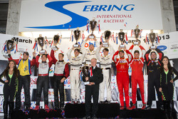 GTC podium: class winners Cooper MacNeil, Jeroen Bleekemolen, Dion von Moltke, second place Nelson Canache, Spencer Pumpelly, Brian Wong, third place Henrique Cisneros, Marco Seefried, Sean Edwards