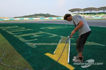 A worker paints the grass