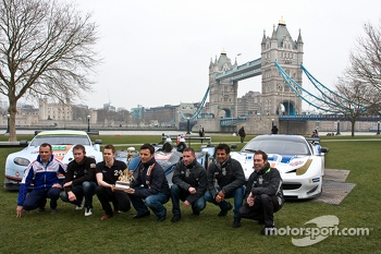From left: Stphane Sarrazin, John Martin, Alex Brundle, Darren Turner, Danny Watts, Nick Leventis and Jonny Kane
