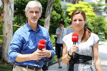 Damon Hill, Sky Sports Presenter with Natalie Pinkham, Sky Sports Presenter