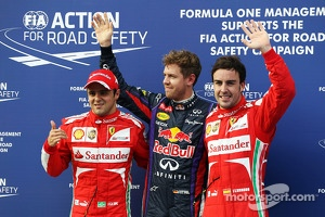 Pole position for Sebastian Vettel, Red Bull Racing, second for Felipe Massa, Ferrari F138 and third for Fernando Alonso, Ferrari
