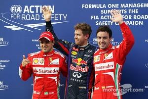Pole position for Sebastian Vettel, Red Bull Racing, second for Felipe Massa, Ferrari F138 and third for Fernando Alonso, Ferrari
