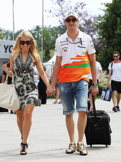 Adrian Sutil, Sahara Force India F1 wiu his girlfriend