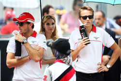 Jules Bianchi, Marussia F1 Team and Max Chilton, Marussia F1 Team on the drivers parade
