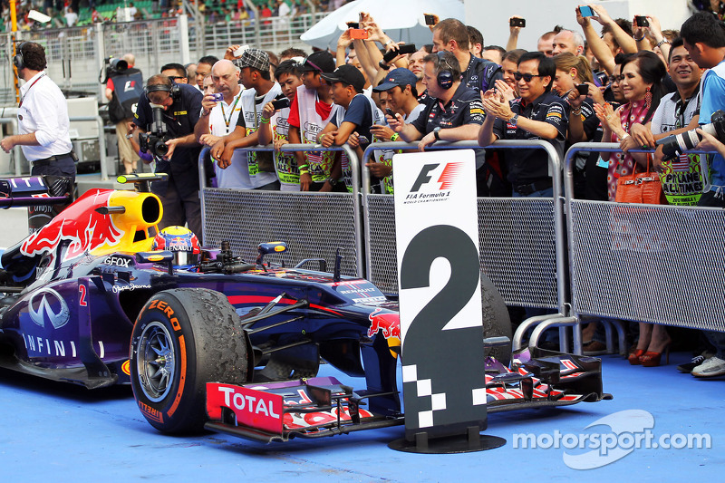 Second placed Mark Webber, Red Bull Racing RB9 in parc ferme