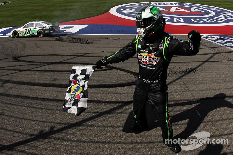 Race winner Kyle Busch, Joe Gibbs Racing Toyota celebrates