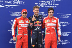 Polesitter Sebastian Vettel, Red Bull Racing RB9, second place Felipe Massa, Ferrari F138, third place Fernando Alonso, Ferrari F138