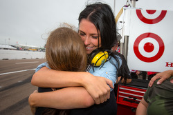 Kirsten Dee, girlfriend of James Hinchcliffe, celebrate victory with Holly Wheldon