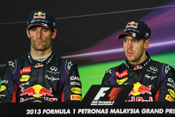 The post race FIA Press Conference, Mark Webber, Red Bull Racing, second; Sebastian Vettel, Red Bull Racing, race winner