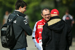 Toto Wolff, Mercedes AMG F1 Shareholder and Executive Director with Stefano Domenicali, Ferrari General Director and Niki Lauda, Mercedes Non-Executive Chairman