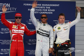 Pole position for Lewis Hamilton, Mercedes AMG F1 2nd for Kimi Raikkonen, Lotus F1 Team and 3rd for Fernando Alonso, Ferrari