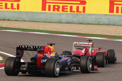 Felipe Massa, Ferrari F138 leads Sebastian Vettel, Red Bull Racing RB9