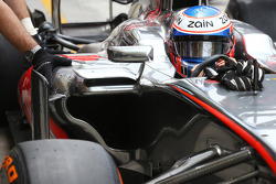 Jenson Button, McLaren MP4-28 sidepod detail