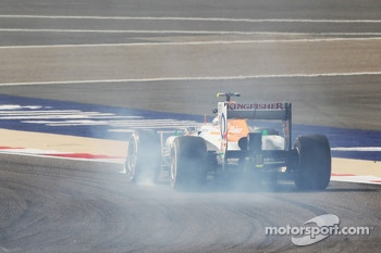 Adrian Sutil, Sahara Force India VJM06 locks up under braking