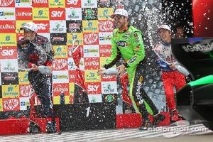 Podium: race winner James Hinchcliffe, Andretti Autosport Chevrolet, second place Takuma Sato, A.J. Foyt Enterprises Honda, third place Marco Andretti, Andretti Autosport Chevrolet